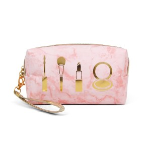 "Marble cosmetic pouch with wristlet.  - Detachable wristlet 7"" L - Open inside  - Approximately 10"" W x 4"" T - 100% PVC"