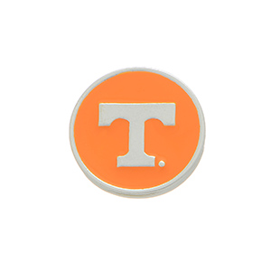 "Silver tone officially licensed University of Tennessee snap charm stamped ""T."" Snap jewelry collection."