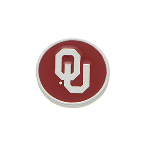 "Silver tone officially licensed Oklahoma University snap charm stamped ""OU"". Snap jewelry collection."