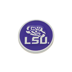 """Silver tone officially licensed Louisiana State University snap charm stamped """"LSU"""". Snap jewelry collection."""