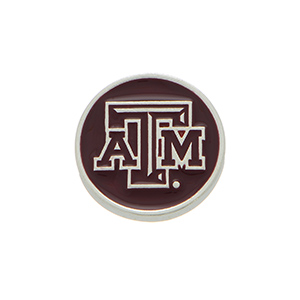 "Silver tone officially licensed Texas A&M University snap charm stamped ""ATM"". Snap jewelry collection."