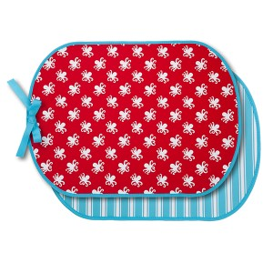 Neoprene booty buddy featuring a red with white octopus front and a blue and white stripe back. Waterproof and Machine washable.