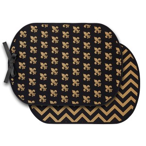 Neoprene booty buddy featuring a black and gold fleur de lis front and a chevron back. Waterproof and Machine washable.