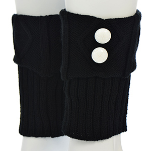 "7"" Black knit boot cuffs leg with white buttons. 100% Acrylic."