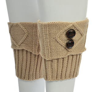 """9"""" tan boot cuffs accented with four brown wooden buttons."""
