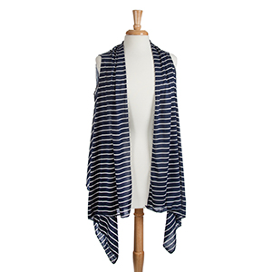 Navy blue lightweight mini ivory stripe jersey vest. 50% viscose and 50% polyester. One size fits most.