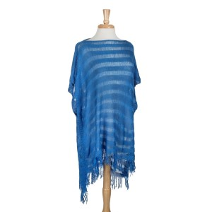 100% Acrylic stripe knit blue poncho with fringe. One size fits most.