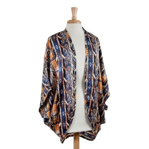 Blue and orange lightweight Navajo print kimono top. 100% Polyester. One size fits most.