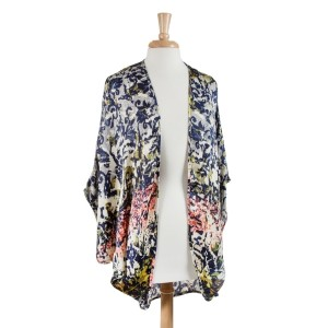 Multicolored arabesque pattern kimono top. 100% Polyester. One size fits most.