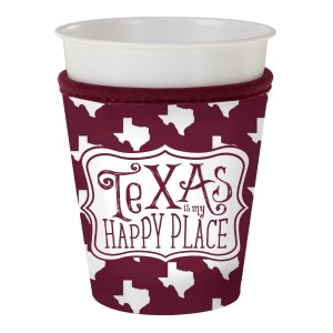 Maroon and white insulated neoprene Texas A & M cup coozy. Fits most plastic party cups.