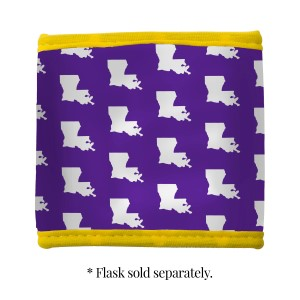 Purple, yellow and white neoprene Louisiana State University velcro flask coozy.