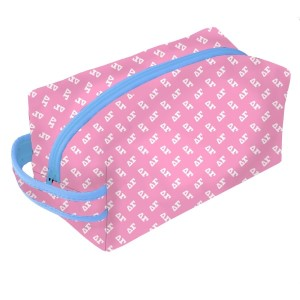 Neoprene Zipper Bag-Delta Gamma. This zipper bag includes a convenient carrying handle and may be used for cosmetics, brushes or any personal items. Machine washable.