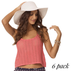 Electric Nova Crochet Tank top - Pack of 6 (S-1, M-2, L-2, XL-1) 4-Way stretch crochet tank top with double straps in coral. 100% Cotton.
