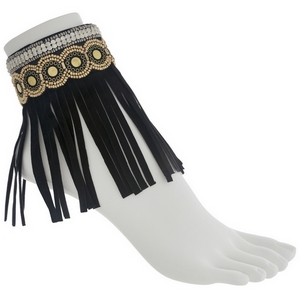 Set of two black fashion anklets featuring gray and gold beading with rhinestone and fringe.