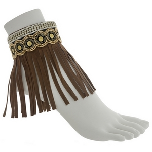 Set of two brown boho fashion anklets featuring ivory and gold beading with rhinestone and fringe.