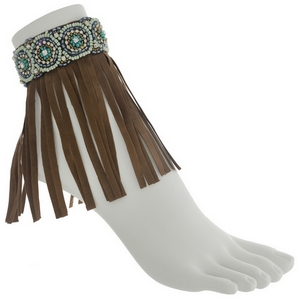 Set of two brown boho fashion anklets featuring blue, mint green, and turquoise beading with fringe.