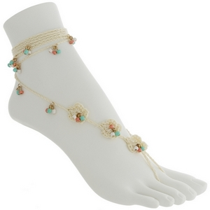 Set of two fashion foot jewelry anklets featuring ivory crochet flowers with coral, mint green, and white bead accents.