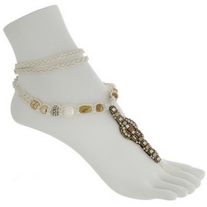 Set of two boho fashion foot jewelry anklet featuring brown beads and faux ivory pearls with topaz and clear rhinestone accents.