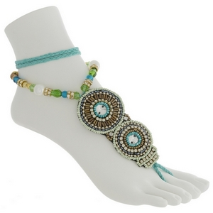 Set of two fashion foot jewelry anklet featuring turquoise, green, and brown beads with rhinestone accents.
