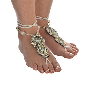 Set of two fashion foot jewelry anklet featuring clear beads with rhinestone accents.