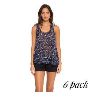 Follow Me To The Sea Tank top - Pack of 6 (S-1, M-2, L-2, XL-1) Allover anchor print chiffon tank top in navy. 100% Polyester.