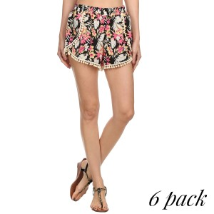 Pink and yellow floral print pom pom shorts. 100% Polyester. Sold in packs of six. (S-1, M-2, L-2, XL-1).