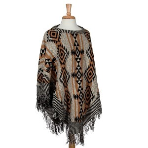 Tan, black, and beige tribal inspired poncho. Polyester, acrylic, and nylon blend. One size fits most.