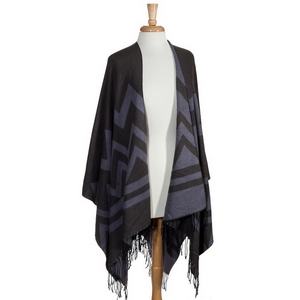 Gray and purple chevron pattern wrap. 100% Acrylic. One size fits most.