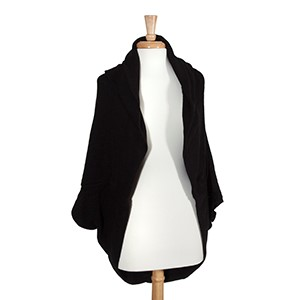 Black hooded bolero. 100% Acrylic. One size fits most.