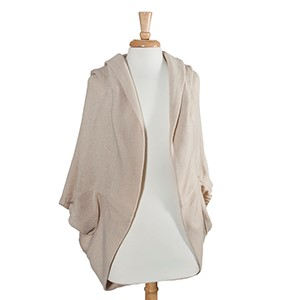 Beige hooded bolero. 100% Acrylic. One size fits most.