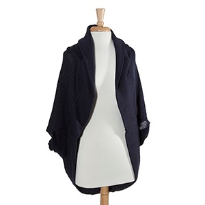 Navy blue hooded bolero. 100% Acrylic. One size fits most.