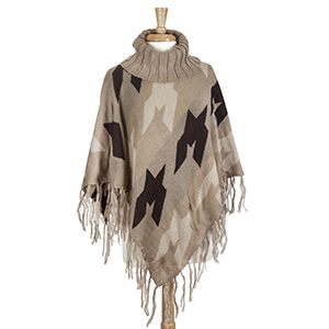 Beige, brown, and ivory aztec printed turtle neck poncho made from 100% Acrylic. One size fits most.
