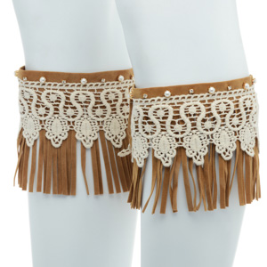 Tan faux suede boot toppers with fringe and ivory lace.
