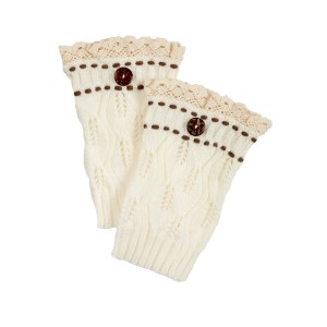 "7 1/2"" Ivory knit boot cuffs threaded with brown knit string and an ivory lace rimmed top."