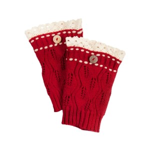 "7 1/2"" Red knit boot cuffs threaded with beige knit string and an ivory lace rimmed top."