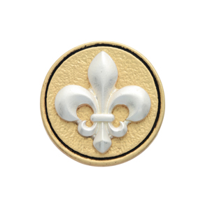 Matte two tone fleur de lis snap charm. Snap jewelry collection.