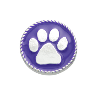 Silver tone purple snap charm with a paw print. Snap jewelry collection.
