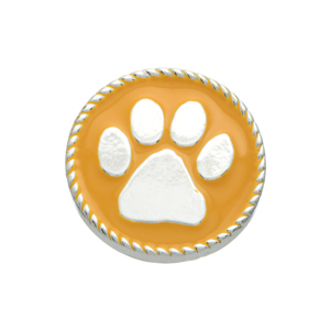 Silver tone yellow snap charm with a paw print. Snap jewelry collection.