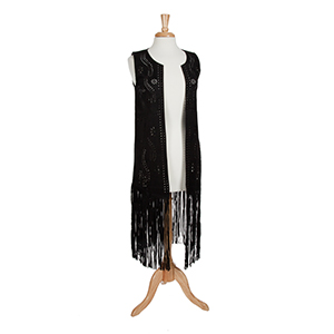 Black laser cut suede vest with long fringe. 90% Polyester and 10% spandex. One size fits most.