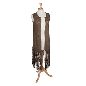 Olive laser cut suede vest with long fringe. 90% Polyester and 10% spandex. One size fits most.