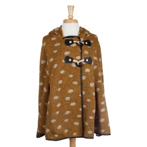 Mustard hooded polka dot cape with toggles. 95% Polyester and 5% Spandex. One size fits most.