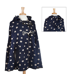 Navy hooded polka dot cape with toggles. 95% Polyester and 5% Spandex. One size fits most.