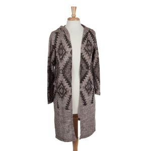 Taupe and brown Aztec pattern long hooded cardigan. 100% Acrylic. One size fits most.