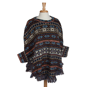 Brown, blue, and rust tribal print sweater poncho with fringe. 95% Polyester 5% spandex. One size fits most.