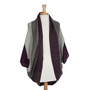 Eggplant and gray knit shrug. 100% Acrylic. One size fits most.