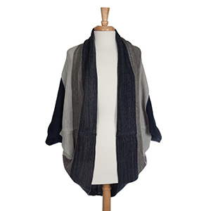 Navy and gray knit shrug. 100% Acrylic. One size fits most.