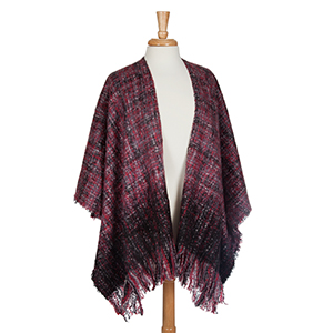 Red and gray kimono with fringe. 100% Acrylic. One size fits most.