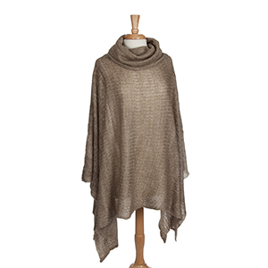 Taupe turtleneck poncho. 100% Acrylic. One size fits most.