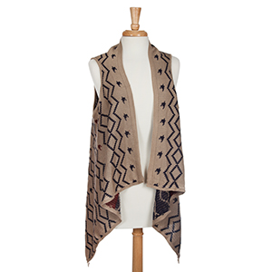 Taupe and navy jacquard vest. 100% Acrylic. One size fits most.