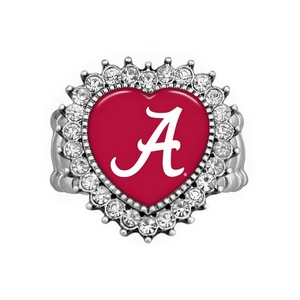 Officially licensed silver toned stretch band ring with crystal rhinestones surrounding the heart shaped Alabama logo.